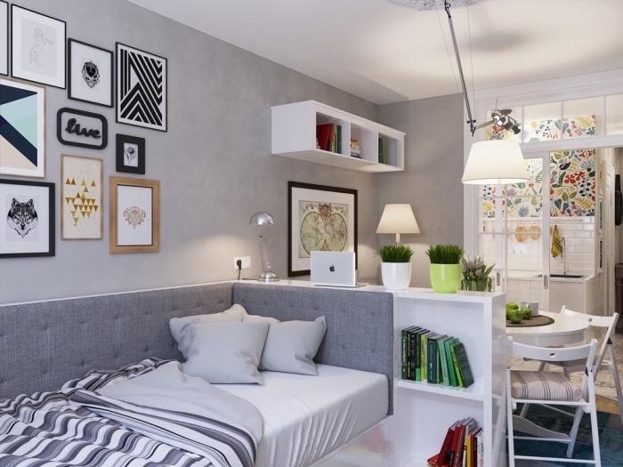 intérieur à design moderne avec meubles blanc et gris, aménagement studio 25m2 avec rangements verticals