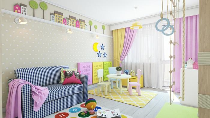 dessin mur, papier peint en couleur réséda aux petits pois blancs, étagère blanche sur toute la largeur du mur, sol en parquet blanc, un pan de mur