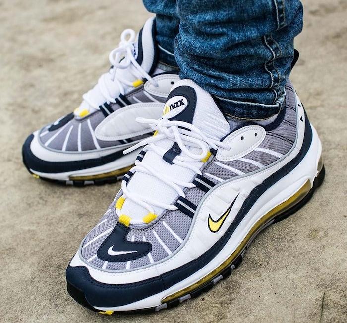 chaussure été homme pour running style nike air max 98 blanc gris jaune