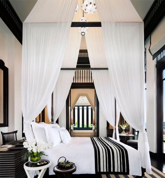Lit moderne pas cher style moderne design lit tendance chouette idée déco blanc et noir chambre a coucher colonial style