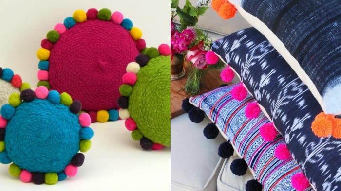 différents modèles de coussins colorés avec décoration en mini pompons, deco a faire soi meme avec boules de laine
