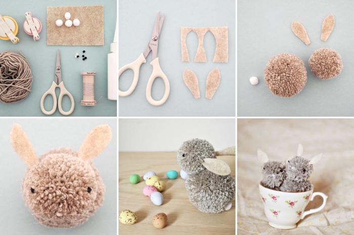 petites figurines en peluches diy, activité manuelle à partager avec les enfants, lapin fait main en boules de laine et feutre