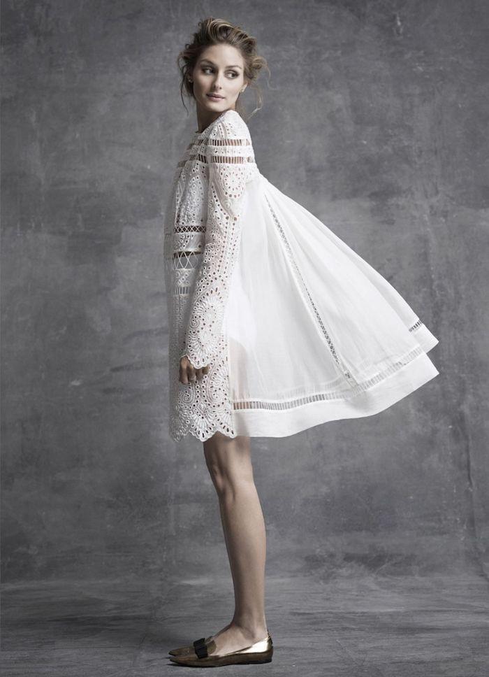 Longue robe d été robe blanche manche longue chic boheme vêtements bohème chic olivia palermo