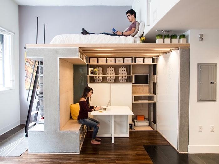 quel mobilier choisir pour exploiter et optimiser espace dans studio, idée lit mezzanine avec espace bureau