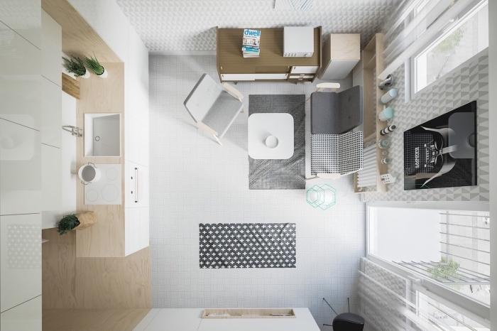 comment amenager studio 15m2 avec petite cuisine et meubles escamotables, intérieur design moderne en blanc et bois