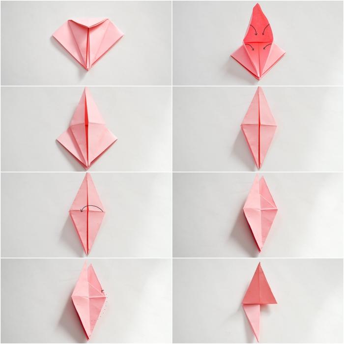apprenez à réaliser une jolie fleu en origami en suivant les étapes de pliage facile , comment faire une guirlande fleurie de fleurs en papier