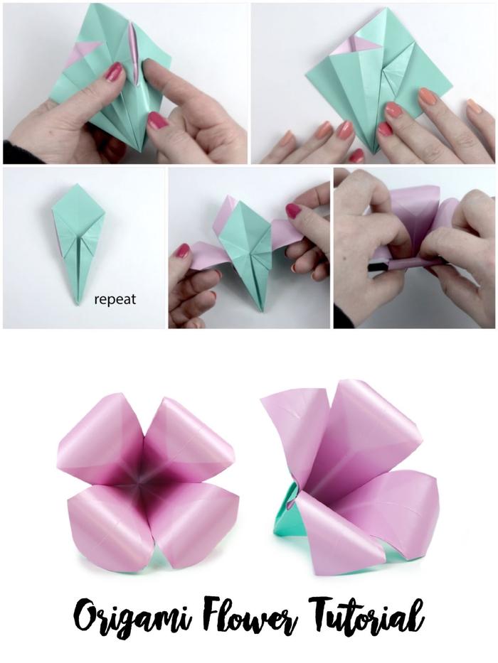 joli modèle d'origami fleur d'iris réalisé en peu de temps grâce