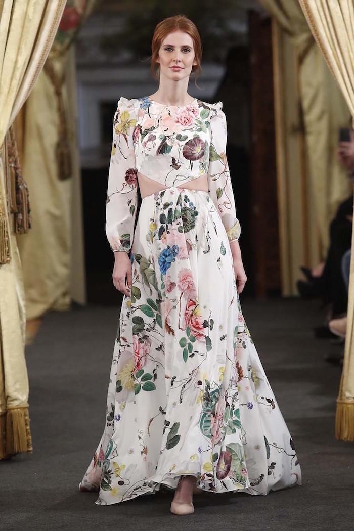 Originale robe empire avec cutouts robe mariage fleurie robe de mariée 2018 boheme choisir la plus belle robe