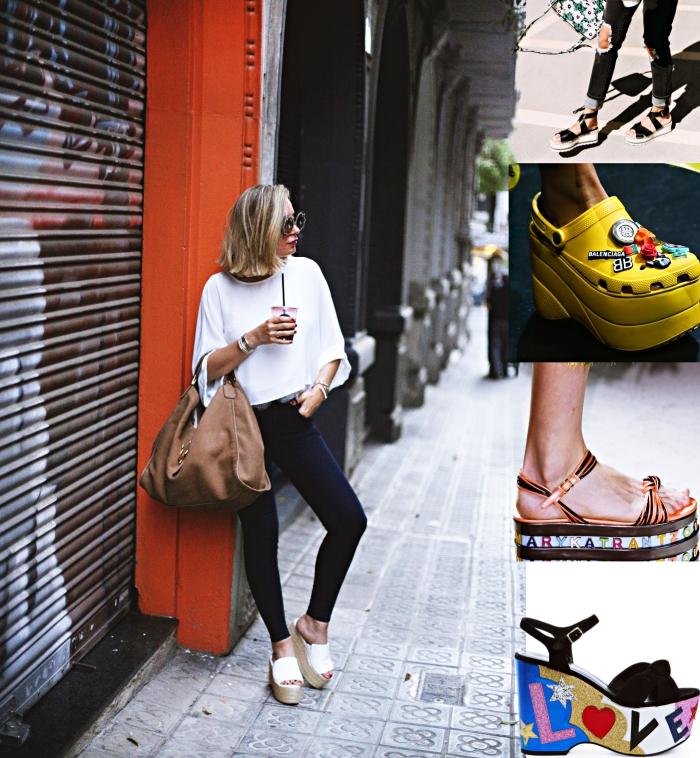 modèles de chaussures et sandales à plateforme au design coloré, look élégant en pantalon noir avec sandales beige et blanc