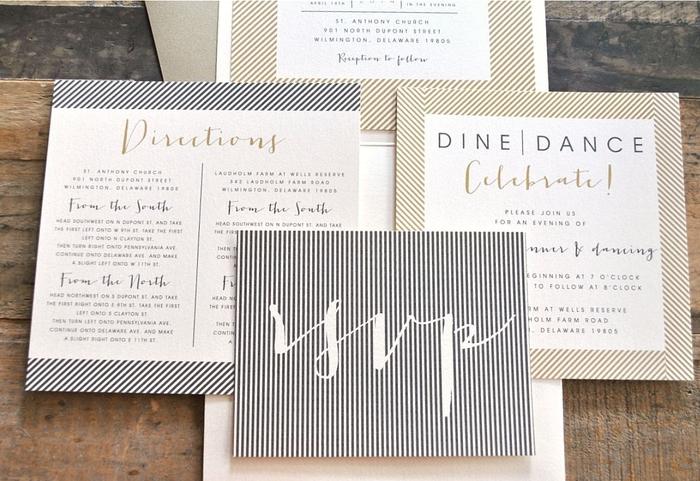 idée pour faire part de mariage au design moderne avec un cadre graphique et une belle typographie