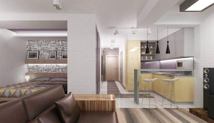 design intérieur contemporain aux murs blancs avec accents colorés en jaune et violets combinés avec objets en noir