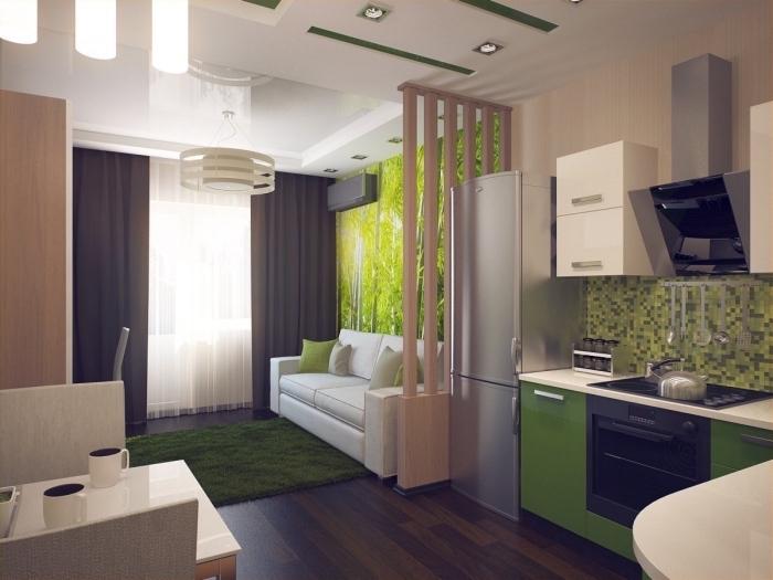 déco moderne avec plafond blanc suspendu et pan de mur en papier peint design tropical, séparation pièce en bois