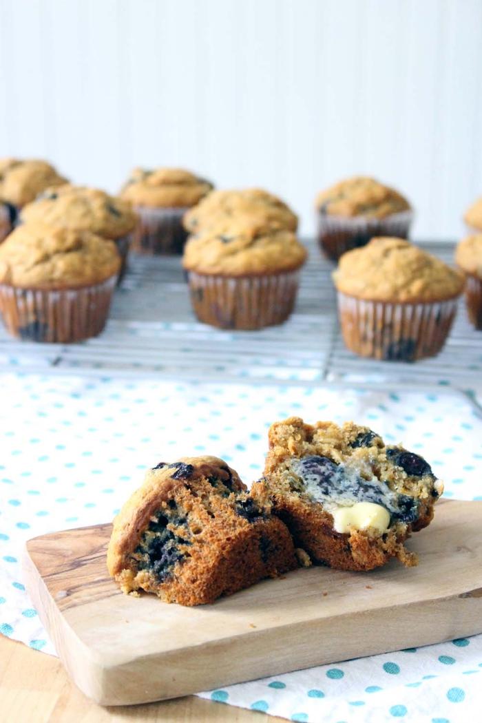 recette de muffin petit déjeuner minceur aux flocons d'avoine, myrtille et banane