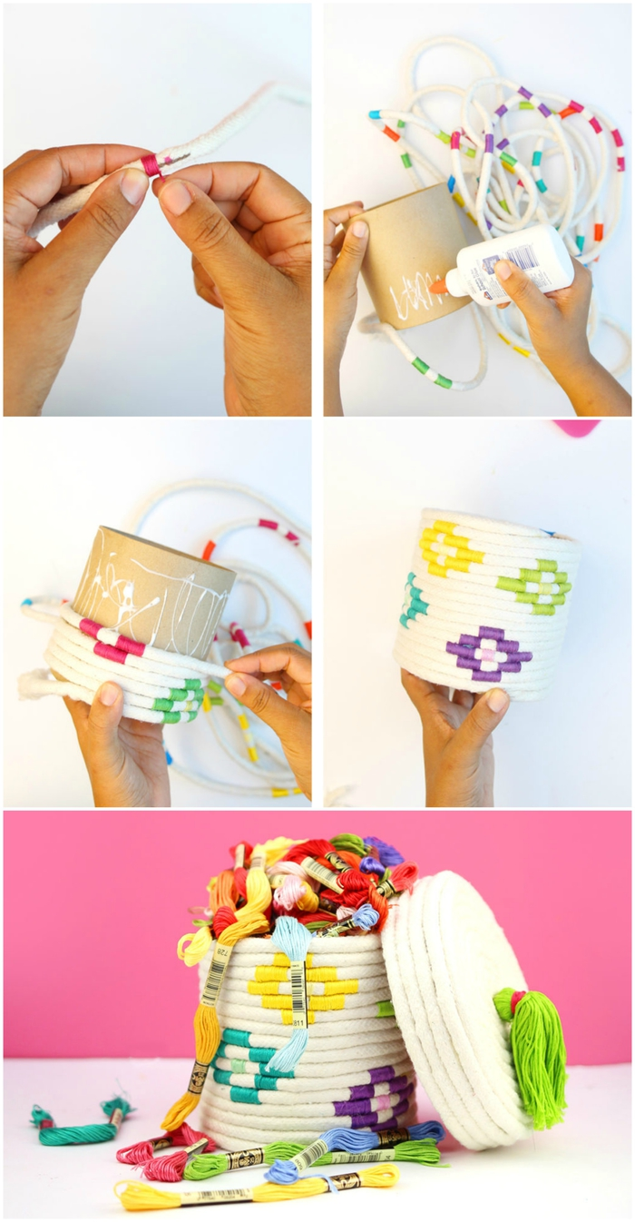 tuto pour réaliser une jolie boîte de rangement en corde à couvercle avec pompon, idee cadeau fete des meres à fabriquer soi-même