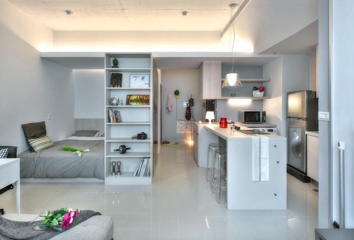 inspiration pour décoration appartement étudiant aux lignées épurées et design moderne en blanc et gris