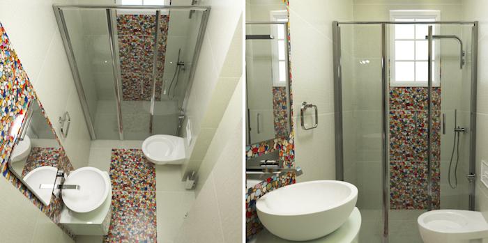 petite sdb avec douche italienne fermée et décoration mosaique sur sol et mur