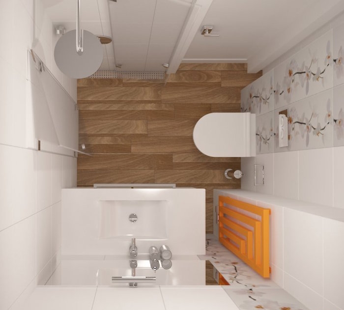 placement douche italienne dans petite salle de bain carrée blanche