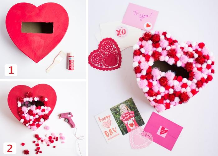 idée surprise pour la Saint Valentin avec boîte en carton coupé en forme de coeur et décoré avec petits embellissement en rouge et rose