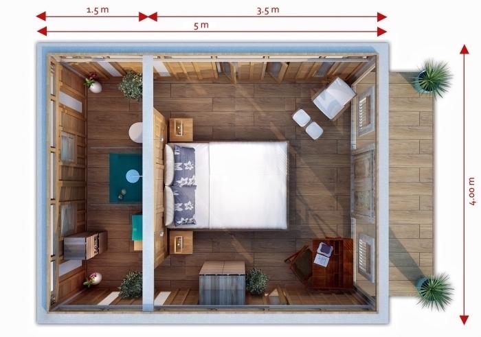 plan pour aménager un studio avec salle de bain séparée et grande chambre à coucher avec coin de lecture et bureau