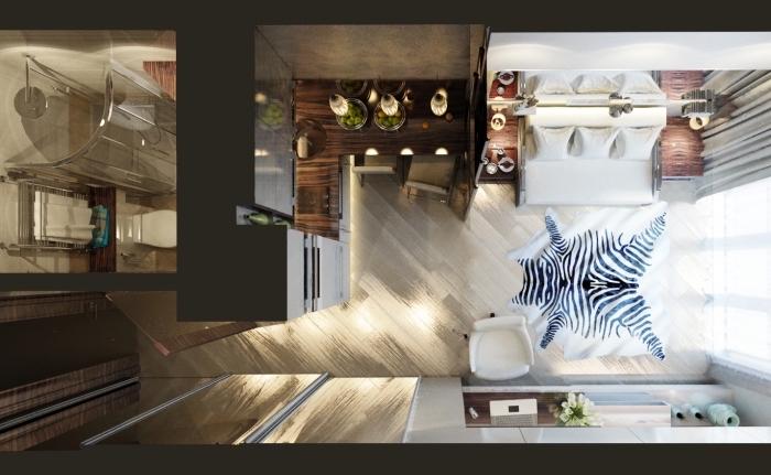 comment réussir l'amenagement petit espace avec bon plan de décoration en zones de cuisine et de repos