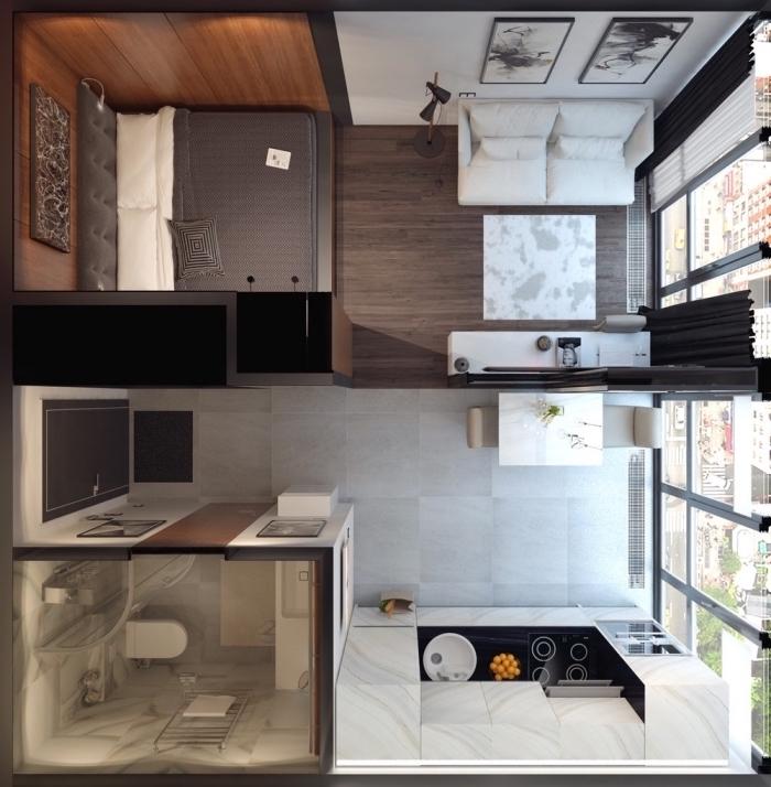 modèle de plan de séparation de pièce, exemple comment diviser un studio en zones différentes pour dormir et manger