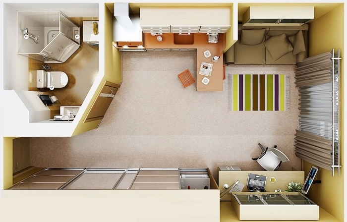exemple de séparation de studio en petites zones pour cuisiner manger ou dormir aménagé avec meubles multifonctions