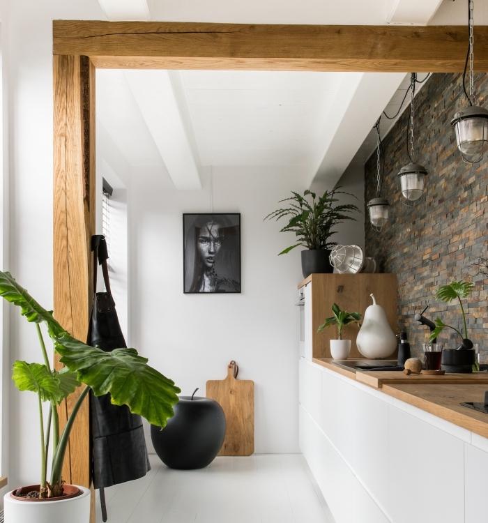 design d'intérieur moderne dans une cuisine aux murs blancs avec pan gris et finitions en bois massif et noir mate