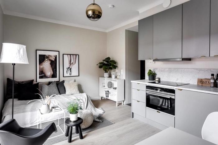 meubles haut de cuisine en gris clair sans poignées pour aménager un petit appartement de façon fonctionnelle