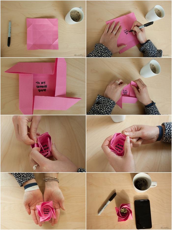 les étapes de pliage finales pour réaliser une mini-boîte cadeau en fleur en origami, une rose épanouie en origami personnalisée avec un message au fond