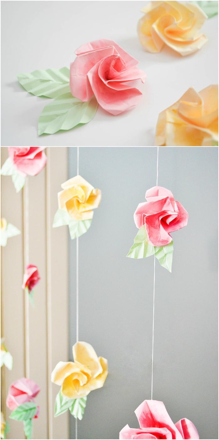 rose origami tuto facile et rapide avec des pliages expliqués en images, une idée créative en origami pour créer une guirlande originale en roses de papier