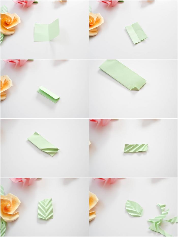 tuto origami facile pour réaliser une feuille en papier plié qui va rehausser la beauté de votre rose en origami