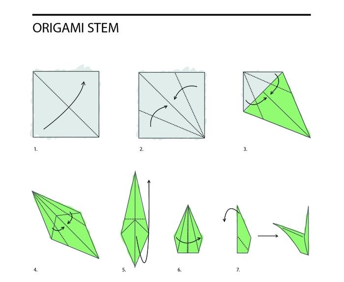 un schéma des pliages origami pour réaliser un modèle traditionnel de tige qui pourrait compléter les fleurs en origami