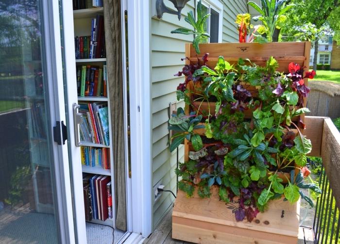 exemple de carré potager sur pied à installer sur le balcon, cultivation de variétés de salades sur terrasse