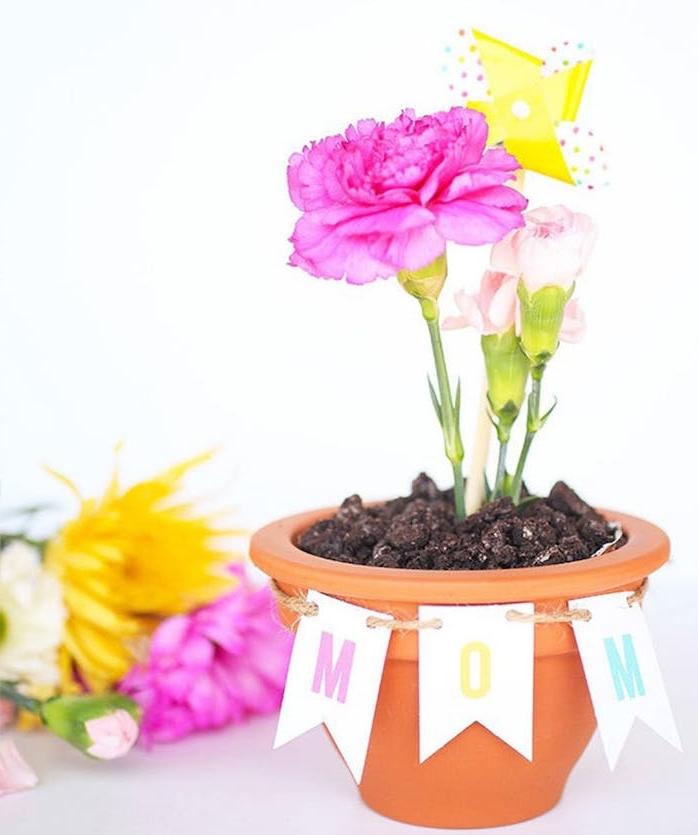 idée de cadeau fete des meres, pot de fleur avec des fleurs plantées et étiquettes maman, cadeau floral