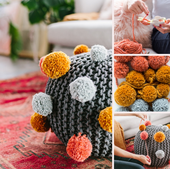 décoration d'intérieur chaleureuse et cocooning avec pouf en crochet gris orné de petites boules en laine diy