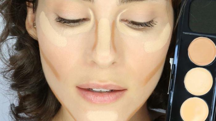 maquillage visage avec produits de contouring, les zones du visage à maquiller