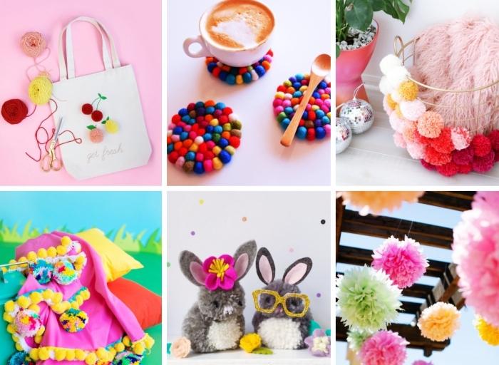 petits créations décoratives en pompon en laine, mini lapin en laine avec oreilles rose et lunettes de soleil glitter doré