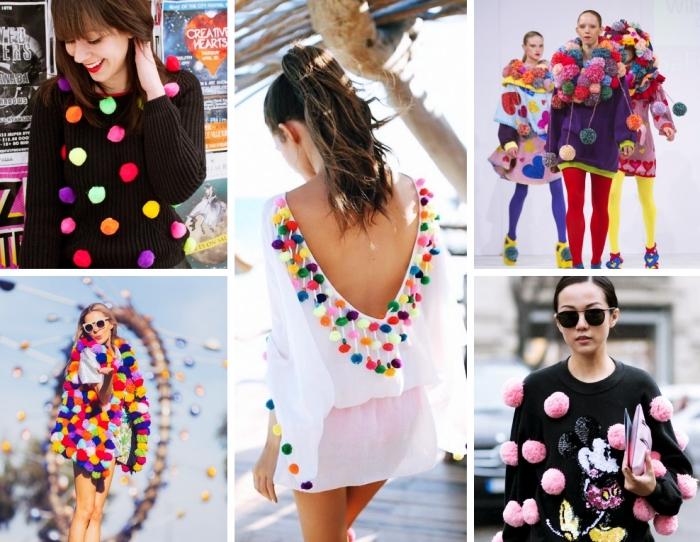 modèles de pulls et tuniques pour femme à décoration pompons colorés, accessoires fashion pour femme tendance