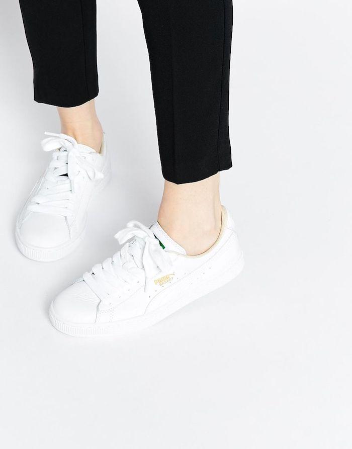 Blanche basquette tendance 2018 femme puma quelle tenue associer basket et robe tendance
