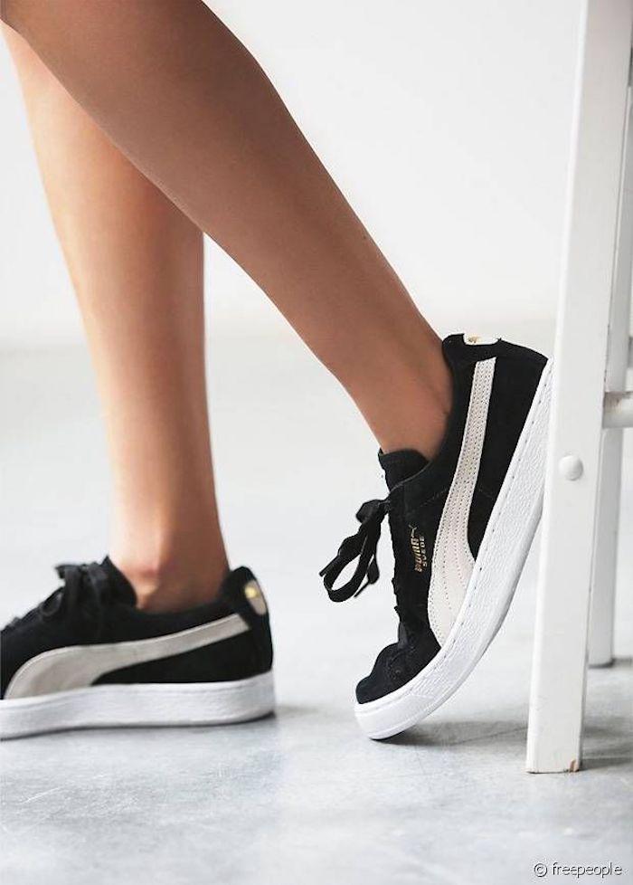 basket femme puma noir compenser