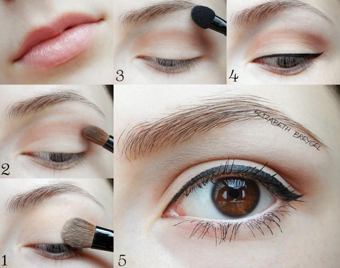 maquillage couleur pêche pour les yeux et eyeliner noir, rouge à lèvres nude