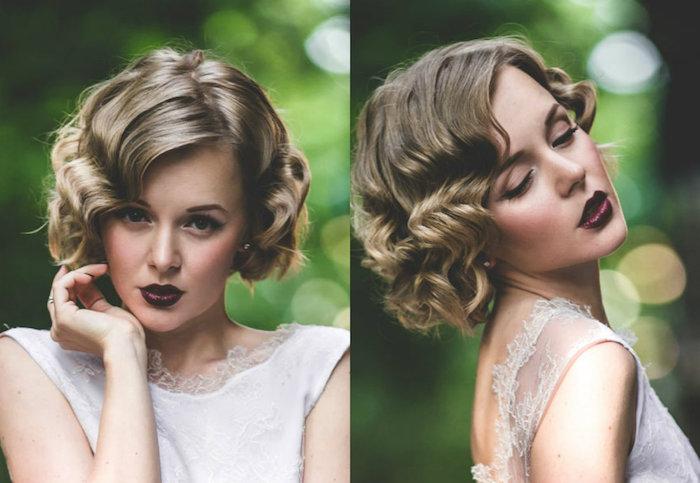 modele de coiffure de mariée bouclées avec des ondulations, mèches blond cendré, rouge à lèvres bordeaux, coiffure retro chic