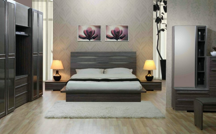 choix de couleur chambre adulte, lit gris, peintures lotus symétriques, armoires grises
