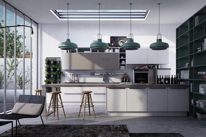 ambiance relaxante et sereine dans une cuisine moderne grise et blanche avec quelques touches vertes