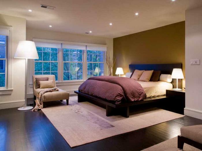 déco de chambre à coucher avec des feng shui couleurs, tapis rose cendré, mur vert