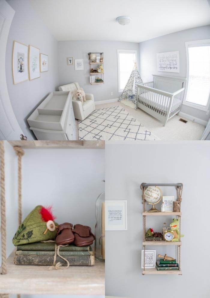chambre pour garcon aux murs blancs avec mobilier nouveau-né, idée rangement vertical en bois clair et métal