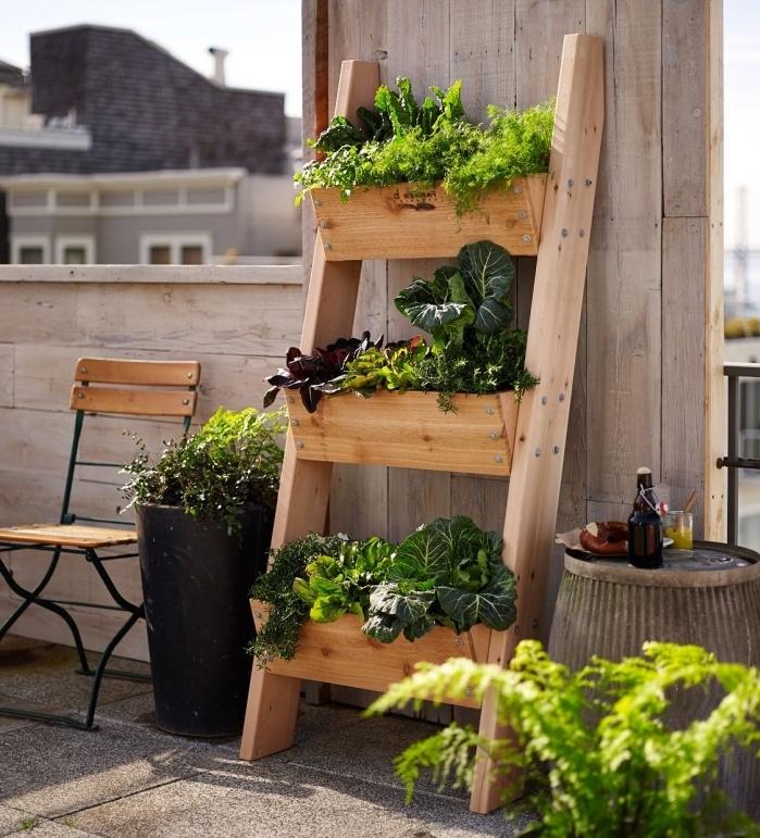 exemple de potager en hauteur dans jardinières en bois en forme échelle décorative, aménagement terrasse avec plantes comestibles