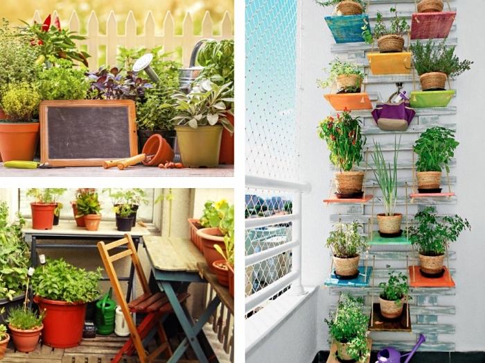 jolis exemples de transformation terrasse ou balcon en mini jardin avec carré potager sur pied ou suspension murale