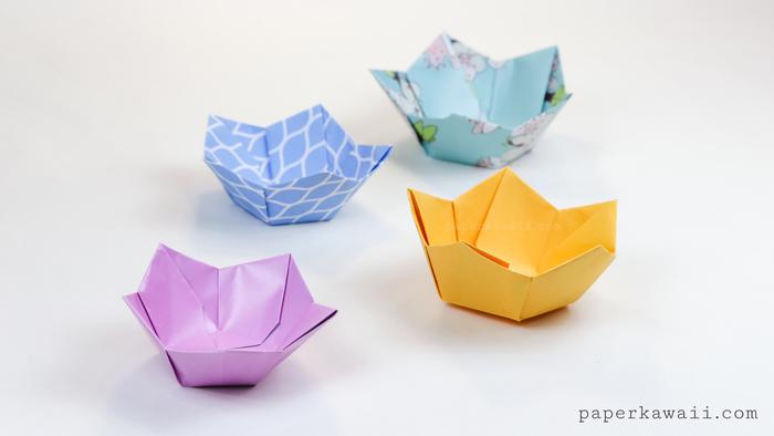 un modele origami original de paper kawaii de bols en origami fleur de lotus