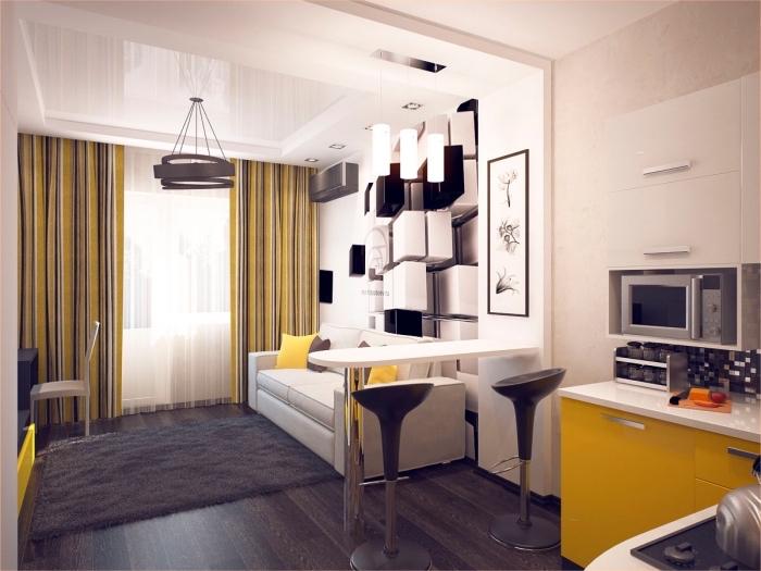 design intérieur contemporain aux lignes épurées et couleurs neutres combinées avec accents vibrants en jaune